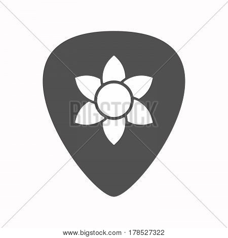 Isolated Guitar Plectrum With  A Lotus Flower