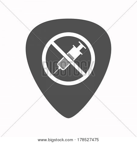 Isolated Guitar Plectrum With  A Syringe  In A Not Allowed Signal
