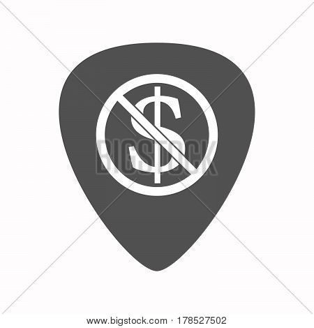 Isolated Guitar Plectrum With  A Dollar Sign  In A Not Allowed Signal