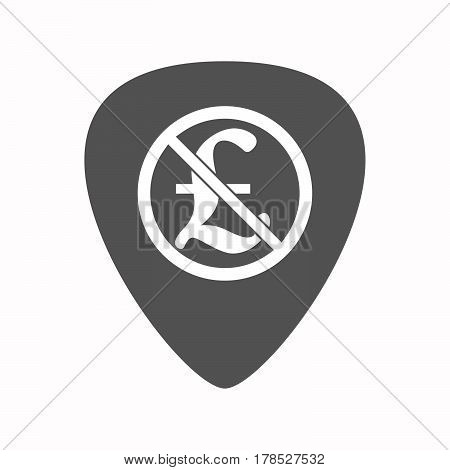 Isolated Guitar Plectrum With  A Pound Sign  In A Not Allowed Signal