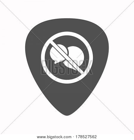 Isolated Guitar Plectrum With  Two Comic Balloons  In A Not Allowed Signal