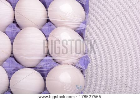 Raw Chicken Eggs Set On White Background