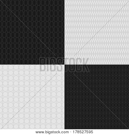 Set of seamless crossed guilloche patterns. Safety net watermark for certificates or banknotes money design currency. Background for checks and tickets. Vector Illustration