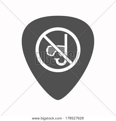 Isolated Guitar Plectrum With  A Diving Glasses And A Snorkel  In A Not Allowed Signal