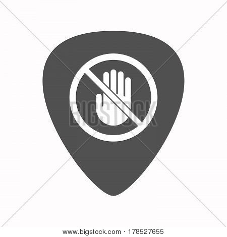 Isolated Guitar Plectrum With  A Hand  In A Not Allowed Signal