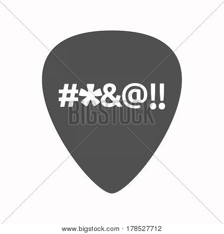 Isolated Guitar Plectrum With  A Cursing Tex