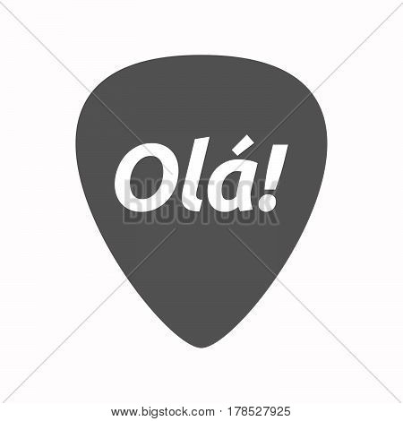 Isolated Guitar Plectrum With  The Text Hello! In The Portuguese Language