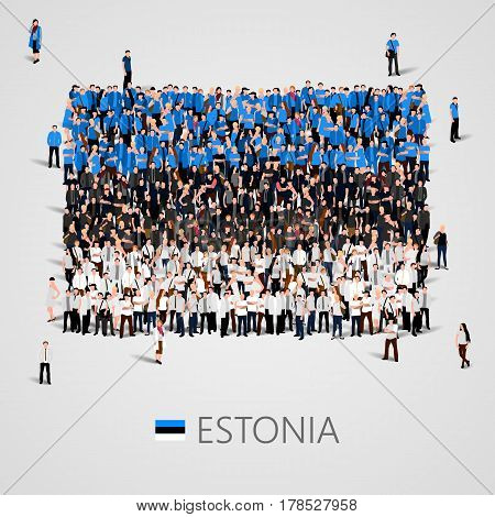 Large group of people in the shape of Estonian flag. Republic of Estonia. Vector illustration