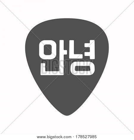 Isolated Guitar Plectrum With  The Text Hello In The Korean  Language