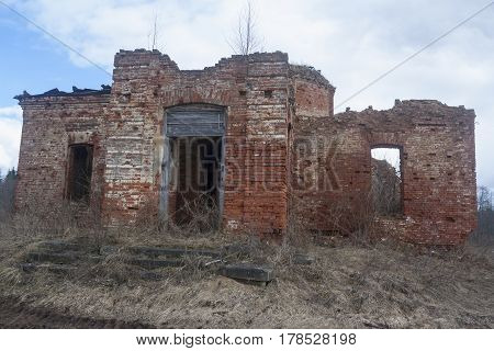 shot of old ruined abandoned christian church