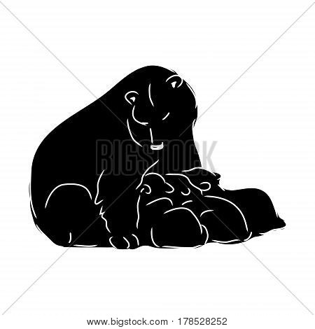 Bear feeding cubs, black bear silhouette, vector illustration