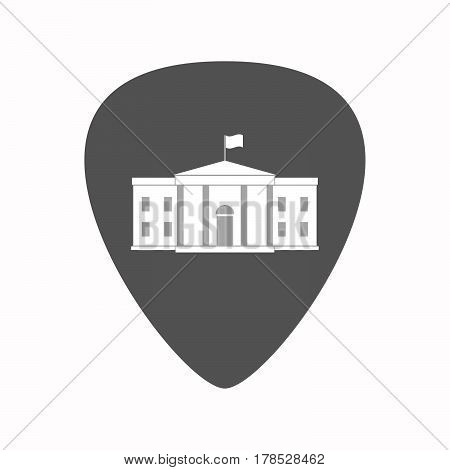 Isolated Guitar Plectrum With  The White House Building