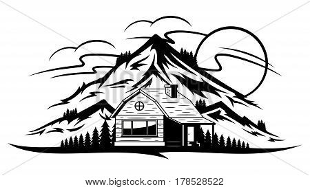 Vector Mountain Landscape With Wooden Cabin