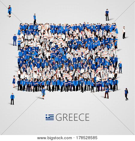 Large group of people in the shape of Greece flag. Hellenic Republic. Vector illustration
