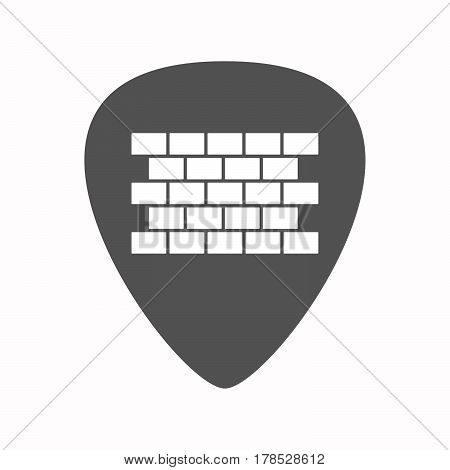 Isolated Guitar Plectrum With  A Brick Wall