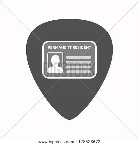 Isolated Guitar Plectrum With  A Green Card