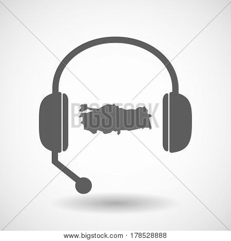 Isolated Hands Free Headphones With  A Map Of Turkey