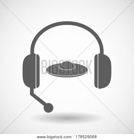 Isolated Hands Free Headphones With  A Flying Saucer Ufo