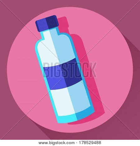 Vector flat cartoon style water bottle icon. Blue colors label mark.