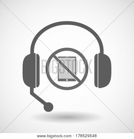 Isolated Hands Free Headphones With  A Tablet Pc  In A Not Allowed Signal