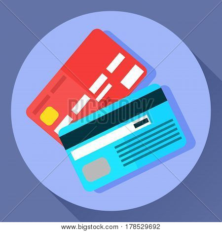 Vector icon of two bank payment cards in flat cartoon style