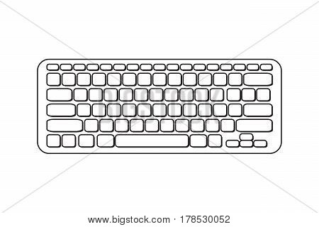 Vector portable computer keyboard. Black and white icon lineart