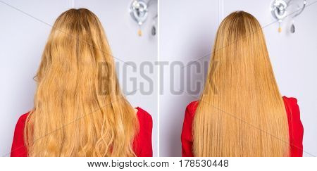 Concept photos before and after. Collage. Female Long wavy blonde hair, rear view, studio wall background