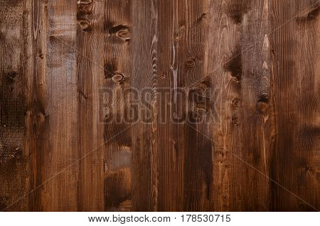 Close Up Of Wall Made Of Wooden Planks. Brown Texture Background