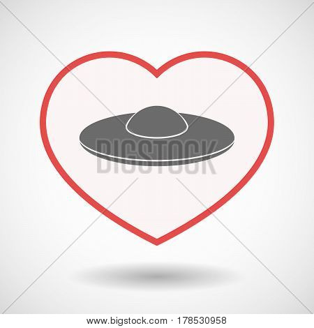 Isolated Line Art Heart With  A Flying Saucer Ufo