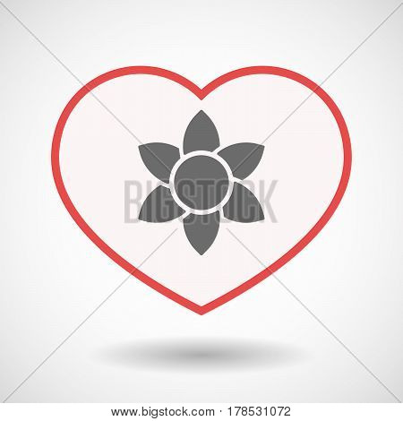 Isolated Line Art Heart With  A Lotus Flower