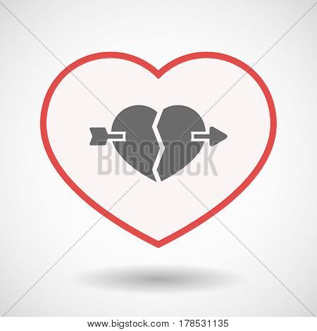 Isolated Line Art Heart With  A Broken Heart Pierced By An Arrow