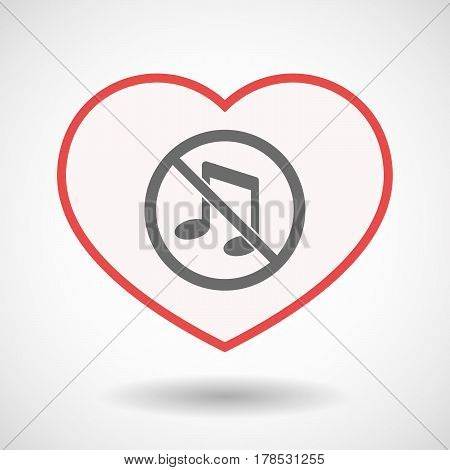 Isolated Line Art Heart With  A Musical Note  In A Not Allowed Signal