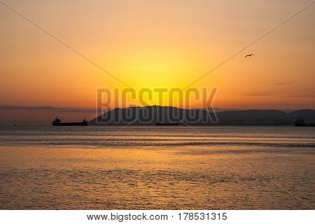 Natural summer sea sunset. Silhouettes of ships and strip of land on the horizon. Orange sea sunset in evening