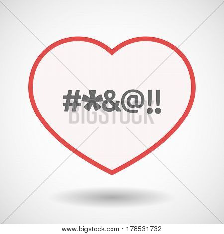 Isolated Line Art Heart With  A Cursing Tex