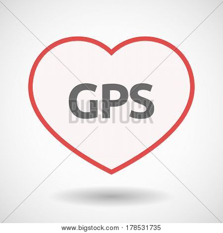 Isolated Line Art Heart With  The Global Positioning System Acronym Gps