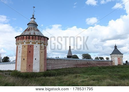 the View of old Russian fortressTower walls