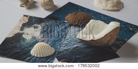 Shells and pictures with images of the sea on white surface