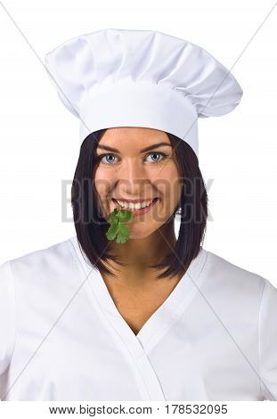 Young Woman In Chef Uniform With Parsley Isolated On White