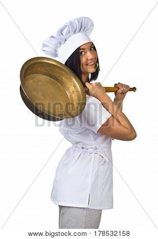 Young Woman In Chef Uniform With Pan Isolated On White