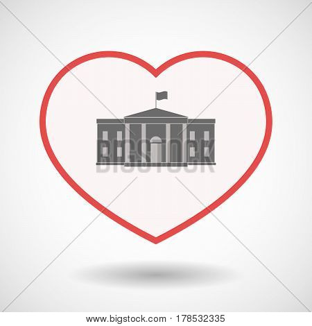 Isolated Line Art Heart With  The White House Building