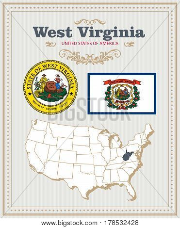 High detailed vector set with flag, coat of arms, map of West Virginia. American poster. Greeting card from United States of America. Colorful design