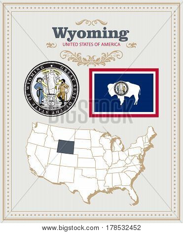 High detailed vector set with flag, coat of arms, map of Wyoming. American poster. Greeting card from United States of America. Colorful design