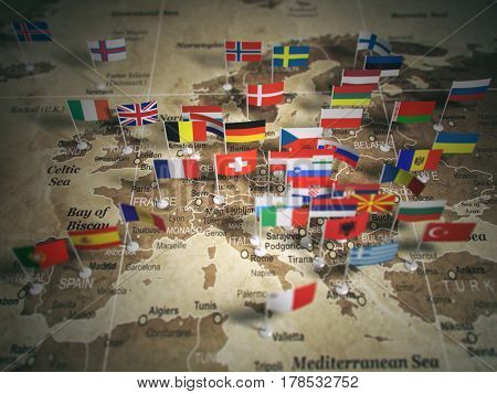 European Union map with flags of countries. Europe. 3d illustration