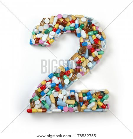 Number 2 two. Set of alphabet of medicine pills, capsules, tablets and blisters isolated on white. 3d illustration