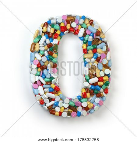 Number 0 zero. Set of alphabet of medicine pills, capsules, tablets and blisters isolated on white. 3d illustration