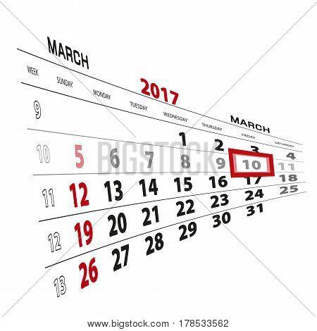 March 10, Highlighted On 2017 Calendar.