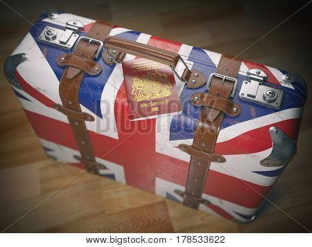 Travel or immigration concept. Passport of UK and suitcase with flag of United Kingdom. 3d illustration
