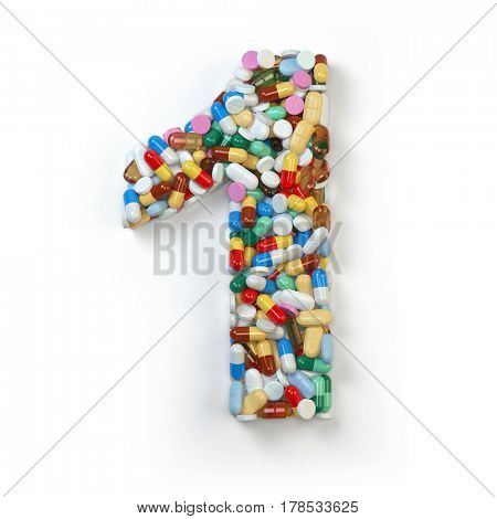 Number 1 one. Set of alphabet of medicine pills, capsules, tablets and blisters isolated on white. 3d illustration