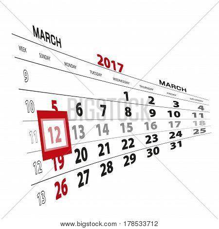 March 12, Highlighted On 2017 Calendar.