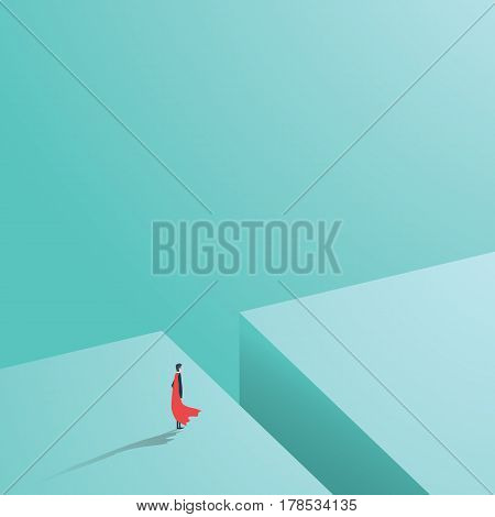 Business superhero standing over big hole, gap, chasm. Business concept of power, strength, courage, bravery and success. Eps10 vector illustration.